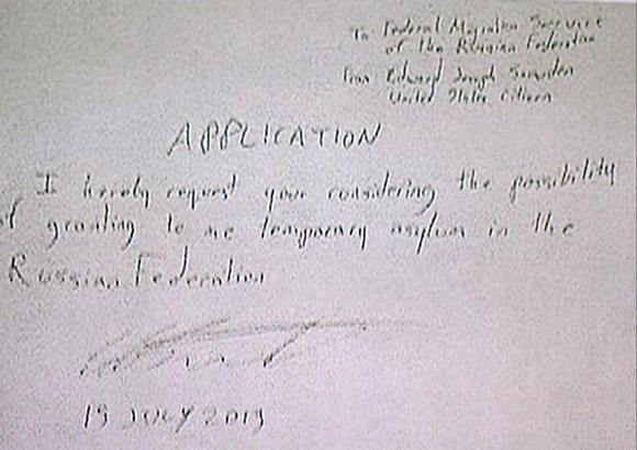 Edward Snowden asylum application