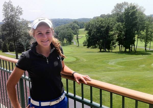 Former Emmaus High golfer Gabrielle Weiss, pictured at Woodstone Golf Club in Danielsville, has committed to play at UNC-Greensboro beginning in 2014. Weiss made a hole in one Tuesday at the North & South Women's Amateur at Pinehurst.