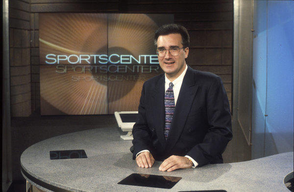 "Keith Olbermann, seen here on ESPN's ""SportsCenter"" in 1996, is returning to his old employer with a new ESPN2 talk show."