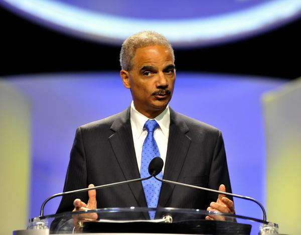 ORLANDO, FL - JULY 16: Attorney General Eric Holder speaks to the National Convention of the NAACP on July 16, 2013 in Orlando, Florida. Holder condemned the 'Stand Your Ground' laws and discussed the George Zummerman not-guilty verdict in the shooting death of Trayvon Martin. (Photo by Tim Boyles/Getty Images) ** TCN OUT **