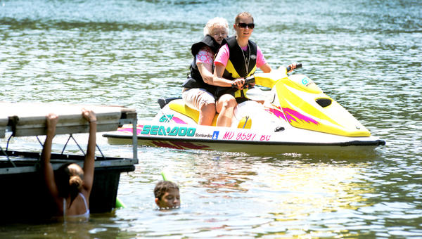 Physicians Assistant Megan Sehultz gives Williamsport Retirement Village resident Catherine Fox a ride Wednesday on the Potomac River at the Big Slackwater boat ramp off Dam 4 Road.