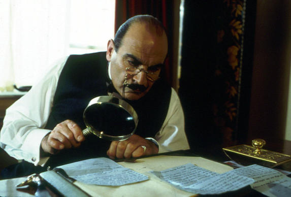 "David Suchet as Poirot in ""The Murder of Roger Ackroyd."""