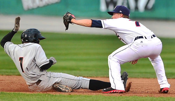 "Hagerstown Suns' Tony Renda tags the Shorebirds' Gregory Lorenzo out in this Herald-Mail file photo. Officials in Fredericksburg, Va., are in the process of developing a new proposal that would bring the Hagerstown Suns to town, and ""everything is on the table,"" according to a city councilman there."
