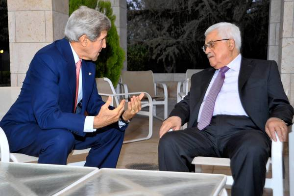 U.S. Secretary of State John F. Kerry, left, and Palestinian Authority President Mahmoud Abbas in Amman, Jordan, where they held two rounds of talks.