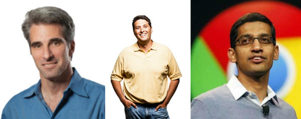 Three operating systems chiefs: Craig Federighi, left, Apple's senior vice president of software engineering; Terry Myerson, Microsoft's executive vice president of Operating Systems; and Sundar Pichai, Google's senior vice president, Android, Chrome & Apps