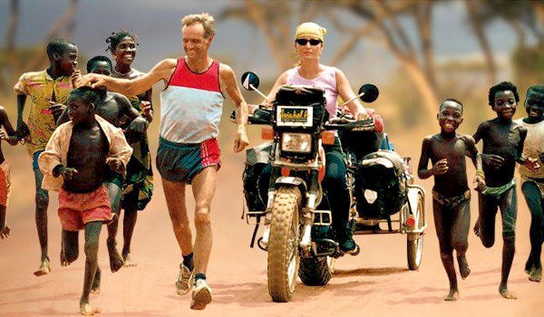 Swiss runner Serge Roetheli ran 25,422 miles til he'd circled the world with his wife Nicole riding along beside him for each step atop a motorcycle and when their journey was over they divorced.