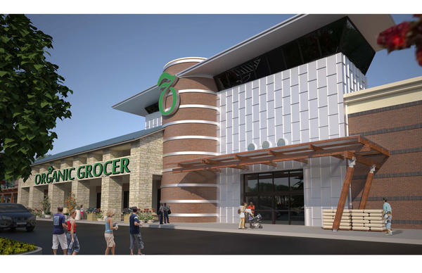 Whole Foods will be a tenant in the new development on acreage at the corner of Jefferson Avenue and Oyster Point Road...Rendering Courtesy of W.M. Jordan Company