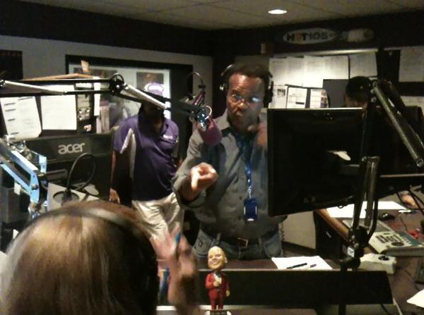 WHQT-FM announcer Rodney Baltimore takes calls on the air after the George Zimmerman verdict.