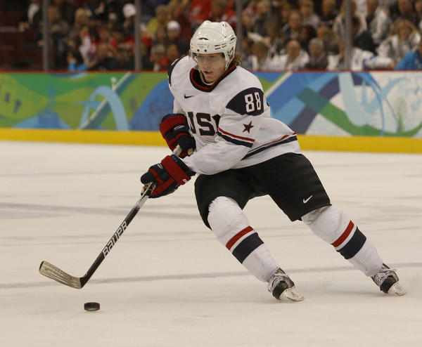 USA's Patrick Kane controls the puck during the game against Norway.