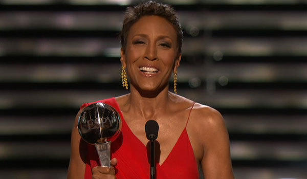 Robin Roberts accepts the Arthur Ashe Courage award at the 2013 Espys on Wednesday night.