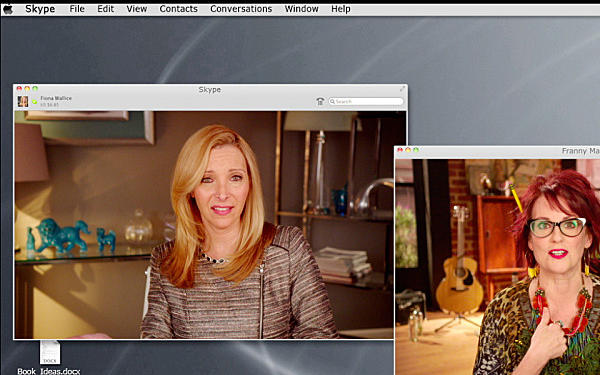 """Lisa Kudrow as online therapist Fiona Wallice and Megan Mullally as composer Franny Marshall in the third season of Showtime's """"Web Therapy."""""""