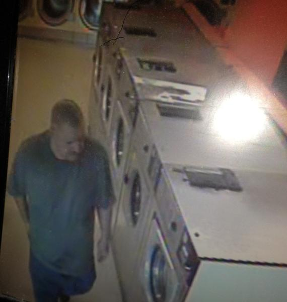 Photo is a shot from surveillance video of the alleged suspect during Tuesday's burglary of Coin Laundry in Glendale.