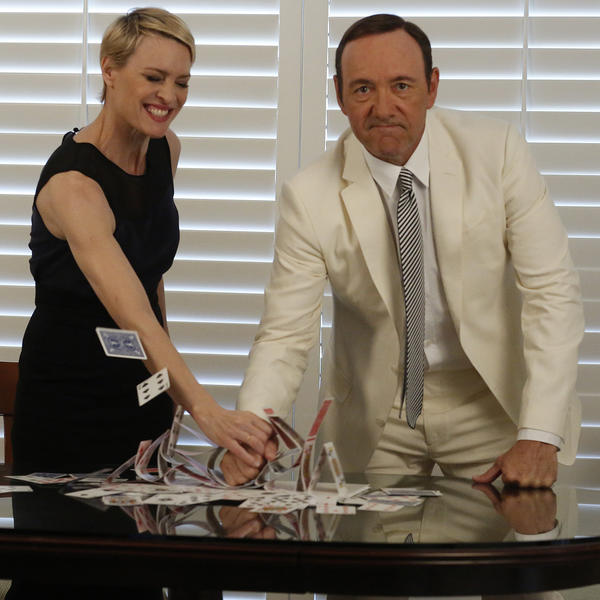 "Kevin Spacey and Robin Wright collected lead dramatic actor and actress Emmy nominations for their roles in the original Netflix series ""House of Cards."" Overall, Netflix shows received 14 Emmy nominations Thursday."