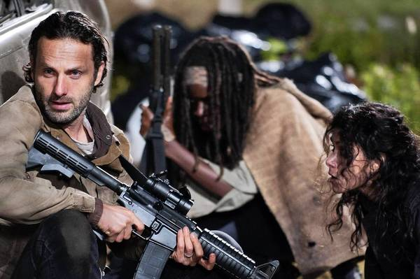 "Andrew Lincoln, left, Danai Gurira and Melissa Ponzio in ""The Walking Dead."""