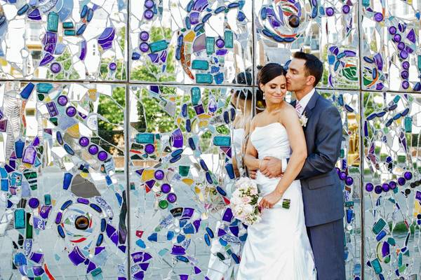 Jessica and Phil pose for a picture outside the American Visionary Art Museum.