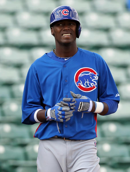 Cubs' Junior Lake after tripling in intrasquad game during Spring Training at HoHoKam Park in Mesa, Arizona on Feb. 21, 2013.