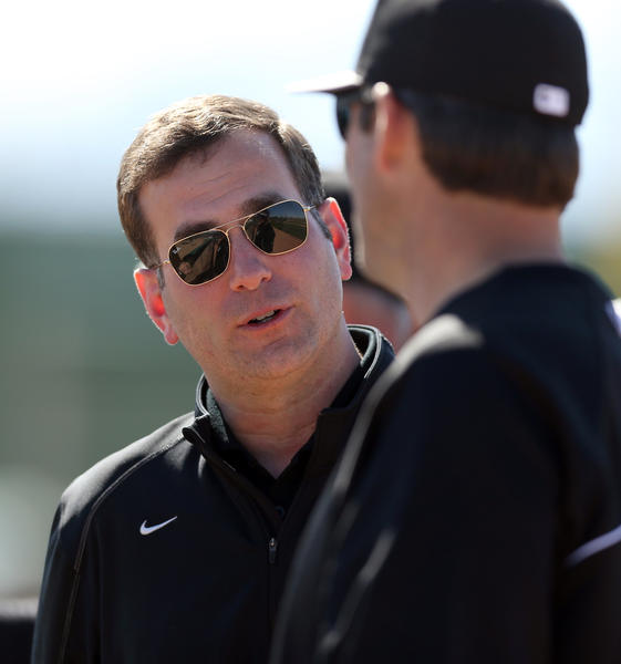 White Sox general manager Rick Hahn talks with manager Robin Ventura during spring training at Camelback Ranch in Glendale, Arizona.