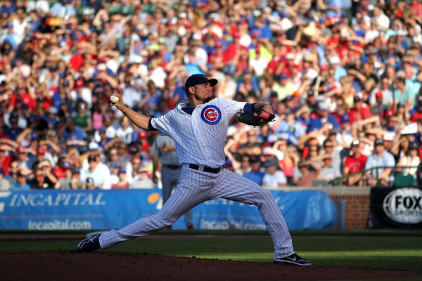 Cubs starting pitcher Matt Garza delivers to the Cardinals in the 4th inning at Wrigley Field on , July 13.