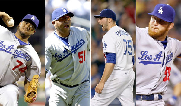 The Dodgers bullpen made up by Kenley Jansen, Ronald Belisario, Paco Rodriguez, J.P. Howell (left to right) has a combined 1.12 earned-run average since June 22.