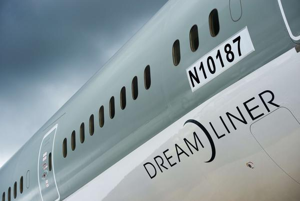 A Boeing 787 Dreamliner aircraft at the Farnborough International Airshow in Hampshire, southern England.