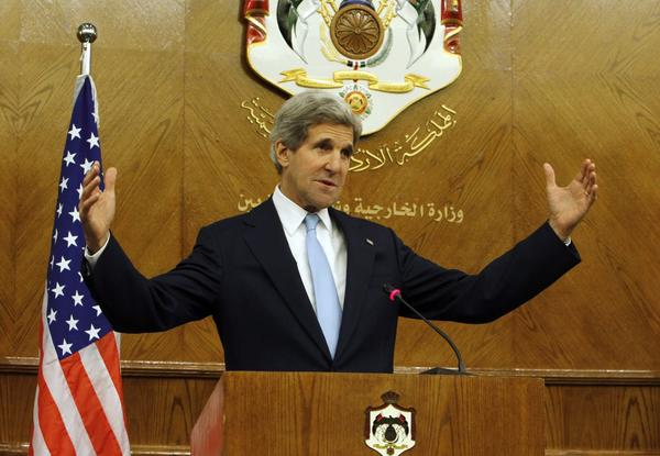 U.S. Secretary of State John F. Kerry at a news conference in Amman, Jordan, on Wednesday.