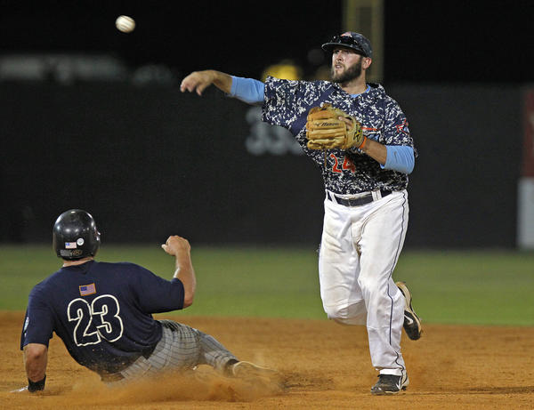 Peninsula Pilots shortstop Josh Silver, highly regarded for defense, makes a play at second base Thursday in Hampton.
