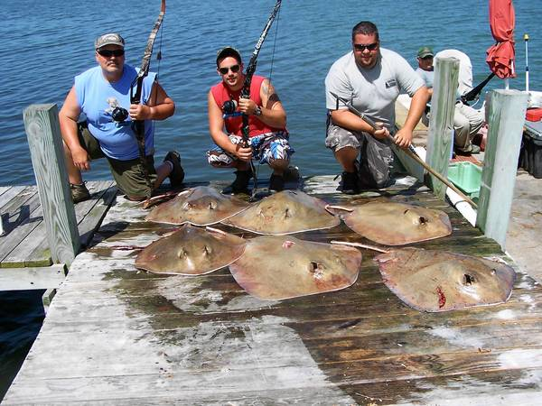 From left, Bob Danenhower Sr., Brent Danenhower and Bob Danenhower Jr. show the six stinngrays they got while bowfishing in Chincoteague, Va., last week. They nabbed the six stingrays in one hour.