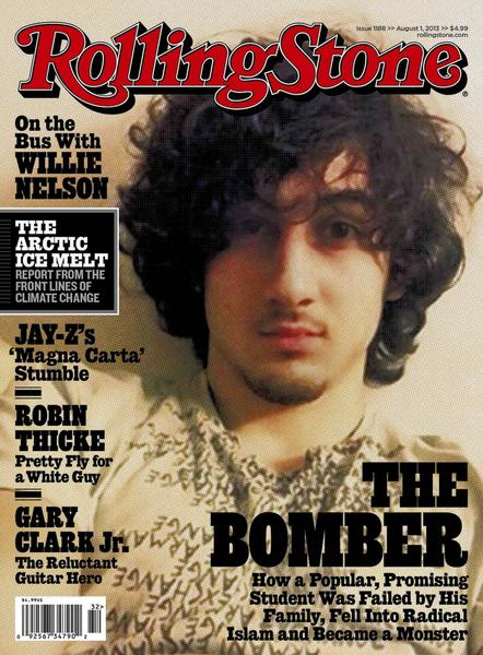 "Accused Boston bomber Dzhokhar Tsarnaev is seen on the cover of the August 1 issue of ""Rolling Stone"" magazine in this handout image received by Reuters July 17, 2013."