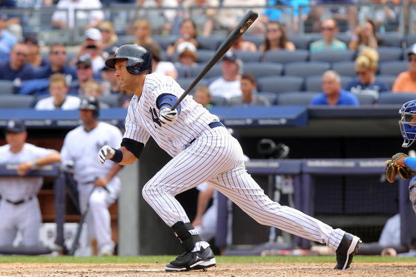Derek Jeter hits an RBI ground out against the Kansas City Royals.