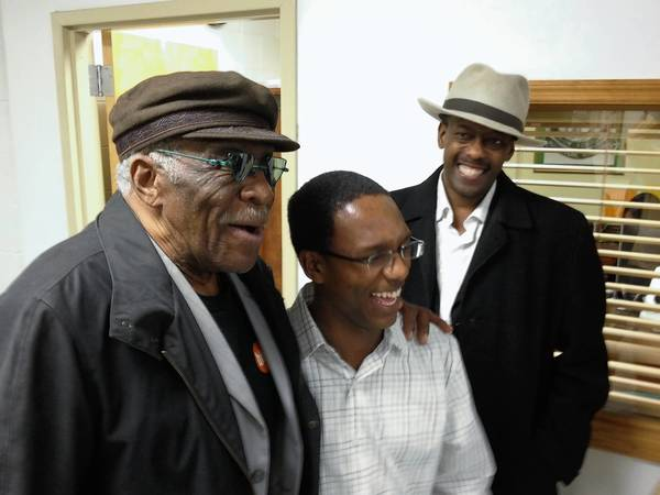 Chicago blues musicians Eddie Shaw, left, and Fernando Jones, right, surprised William Ledbetter, center, at school in Hampton. The young guitarist attended Blues Camp in Chicago last summer and will be part of the camp in Hampton starting July 22, 2013.