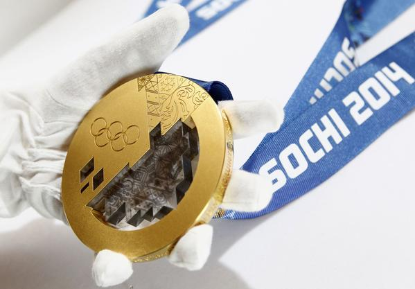 A gold medal manufactured for the 2014 Winter Olympic Games in Sochi.
