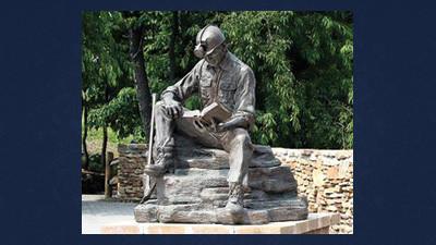 A cast bronze coal miner statue at the Quecreek Mine Rescue Foundation site.