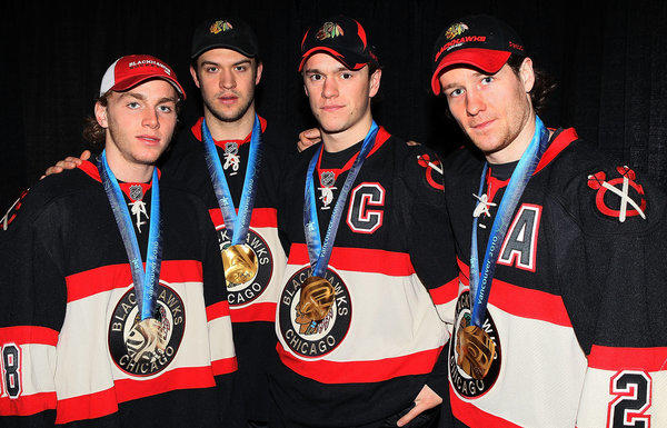 Blackhawks Olympic medal winners Patrick Kane, Brent Seabrook, Jonathan Toews and Duncan Keith in 2010.