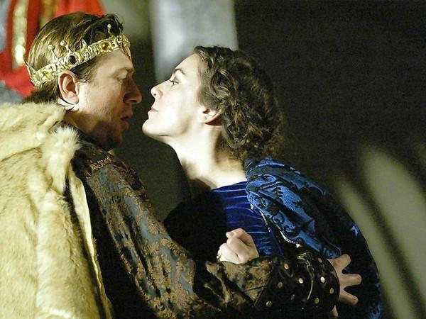 "Duke of Austria (Andrew David James) and Constance (Kristina Teves) in Shakespeare by the Sea's production of ""King John"" directed by Stephanie Coltrin."