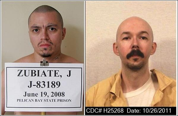 California lawyers filed statements in federal court from Pelican Bay inmates Javier Zubiate, left, and James Elrod contending that prison gangs are behind hunger strike protests.