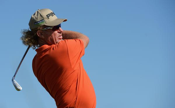 Miguel Angel Jimenez is the unlikely leader after two rounds of the British Open.