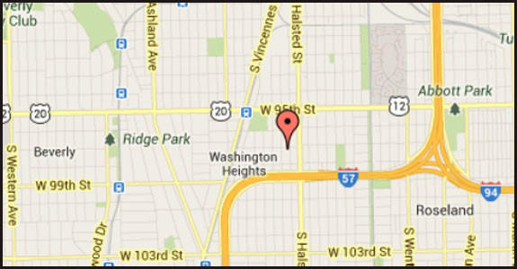 Map of location where he was a factor in a woman's death on the city's South Side.