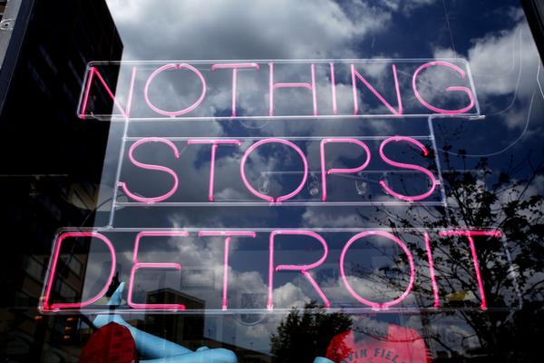 A store in downtown Detroit shows a sign of optimism on Friday.