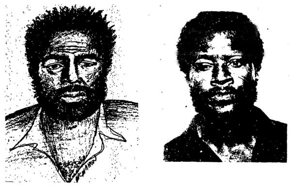 The sketch on the left is the composite of a man seen near the victim's home on the night of the murder. On the right is Eddie Lee Mosley's photograph from the Broward Sheriff's files.