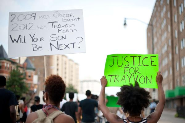 People march in Washington on July 19, 2013 during a demonstration against the acquittal of George Zimmermann in the killing of unarmed Florida teen Trayvon Martin.