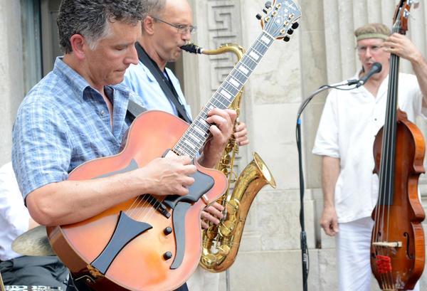 "From left, ""The Ken Jankura Quartet"" with Joe Dennison, Brett Crawford and Ken Jankura play Jazz on West Main Street in Waynesboro Friday evening as part of the music for Destination ARTS! opening weekend."