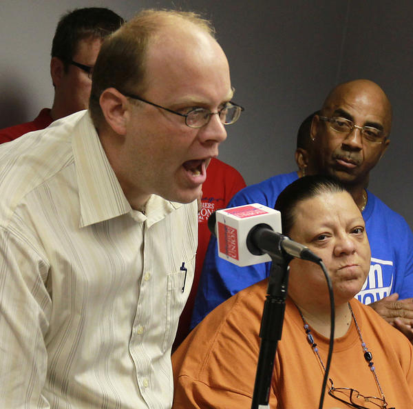 Laid-off teacher Tim Meegan of Roosevelt High airs his anger Friday at a teachers union news conference.