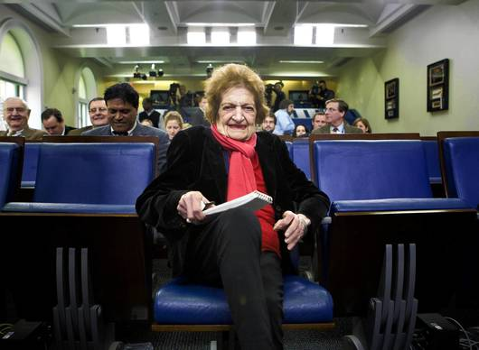 Helen Thomas, dean of the White House press corps, takes her seat after recovering from a long illness in the Briefing Room at the White House in Washington in 2008.