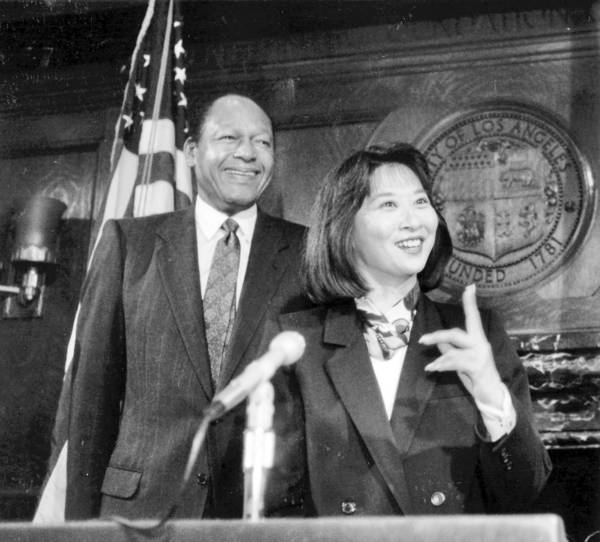 Lillian Kawasaki speaks to the media in 1990 after being introduced as the new head of the city's Department of Environmental Affairs by L.A. Mayor Tom Bradley.