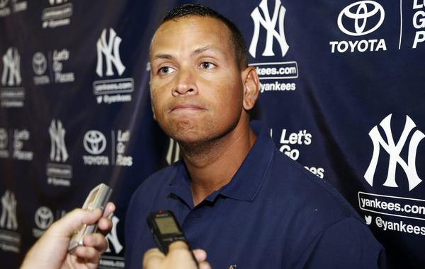 Alex Rodriguez speaks with reporters following his rehab assignment for the Tampa Yankees in a minor league baseball game against the Bradenton Marauders.