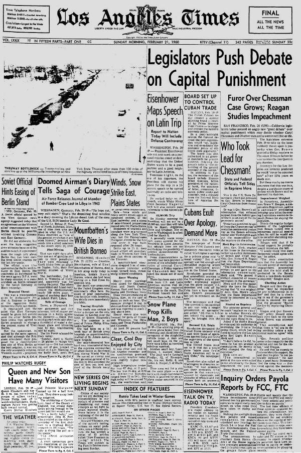 L,A. Times front page on Feb. 21, 1960