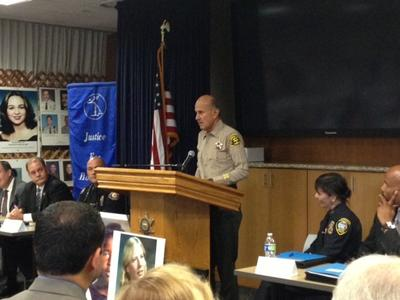 Photo: Sheriff Lee Baca addresses attendees at a summit for victims of unsolved murder in a conference room at the L.A. Sheriff's Department Headquarters in Monterey Park. Credit: Nicole Santa Cruz, Los Angeles Times