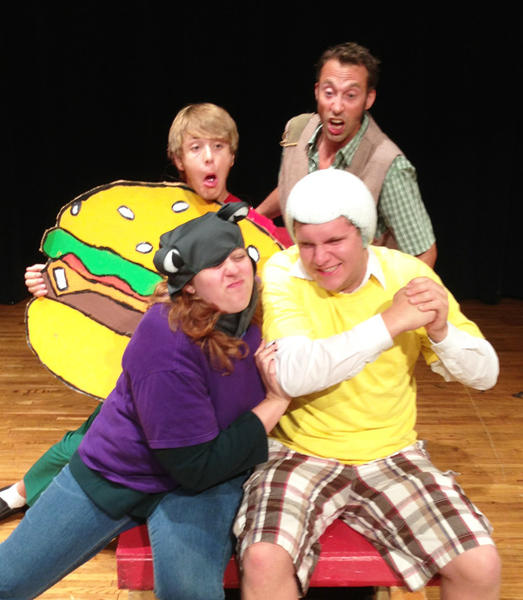 The cast of The Great Crabcrangrapegranate Gambit includes, from left, Emily Davis and Nick Brandt. In back are Chase Roesch and Brian T. Schultz.