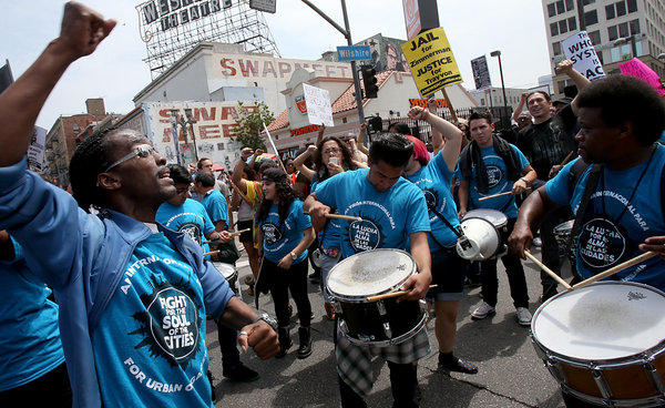 LA drumming group participates in a Justice For Trayvon Martin protest.