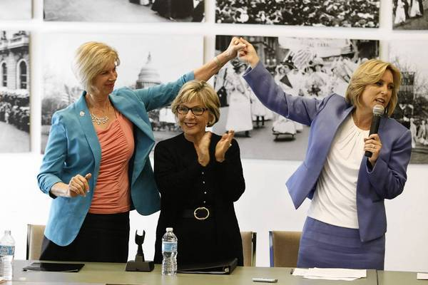 Janice Hahn, left, and Wendy Greuel flank Sen. Barbara Boxer during a roundtable in April.
